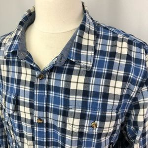 Vans blue/beige plaid cotton buttoned shirt Sz XL